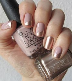 Pretty copper and beige manicure with OPI My Very First Knockwurst and Essie PennyTalk: