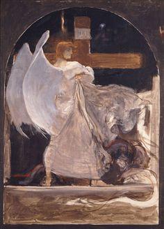 "The Archangel, Study for ""The Grounding of Faith"", 1895 - Nikolaos Gyzis Religious Paintings, Religious Art, Religious Icons, Richard Burlet, Greek Paintings, Face Paintings, Social Art, Greek Art, Art Database"