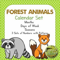 This forest animal theme calendar set includes the months of the year, three sets of calendar cards with different patterns, days of the week in both card sized format and large format, as well as seasons of the year.  The border is green with white dots.These calendar header months of the year printables include all of the months of the year with a green dotted border and forest animal theme clip art.