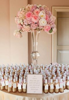 Mini champagne bottles. These mini bottles make for a very special wedding favor and can be personalised and used as part of the table seating plan and escort table.