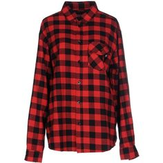 Sweet Sktbs Shirt ($29) ❤ liked on Polyvore featuring tops, red, red flannel shirt, long sleeve flannel shirts, logo top, checked shirt and flannel shirts