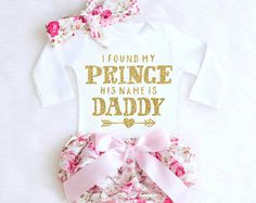 Daddy's Girl Baby Girl Outfit Daddy Onesie by KennedyClairesCloset