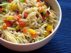 Confetti Orzo Salad from Food.com: This is from my 365 Pasta Recipes cookbook, but I changed the original recipe quite a bit. Food should be attractive and this dish is really pretty and colorful. And easy to make! Cut the veggies really tiny. This is a great dish for work lunches because it is good hot or cold.