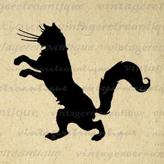 Digital Black Cat Silhouette Graphic Image Kitten Printable Download Vintage Clip Art Jpg Png Eps 18x18 HQ 300dpi No.3581 @ vintageretroantique.etsy.com