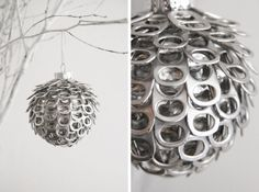 Recycle soda can tops into this unique Christmas ornament with a little time and effort!