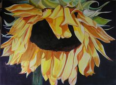 BIG SUNFLOWER WATERCOLOR PAINTING by BunnysWatercolors, via Flickr
