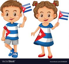 Happy boy and girl holding flag of cuba Royalty Free Vector