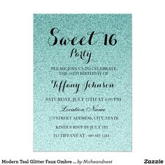 Modern Teal Glitter Faux Ombre Sweet 16 Invitation