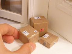 Miniature Dollhouse Mail Packages by MinnieKitchen on Etsy