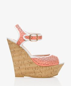 Cutout Cork-Wrapped Wedges #Forever21 #HighHeels