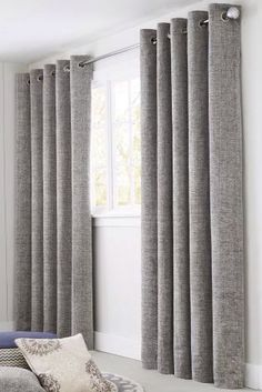 Living room grey curtains pin by on home decor in curtains grey curtains and family room curtains Grey Curtains Bedroom, Family Room Curtains, Lounge Curtains, Living Room Decor Curtains, Home Curtains, Curtains With Blinds, Curtain Ideas For Living Room, Thick Curtains, Tapestries