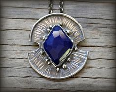 Sterling silver lapis necklace. Cobalt blue faceted lapis pendant. Hammered abstract modern one of a kind lapis lazuli pendant necklace.