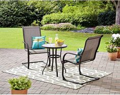 3Pc Outdoor Bistro Set Garden Balcony Glass Table & Sling Chair Furniture Grey #MainstaysDealsMarket