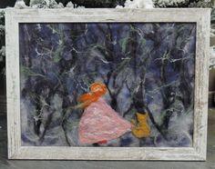 Картина из шерсти. Картина на стену. Ночной лес синий от Anniiko