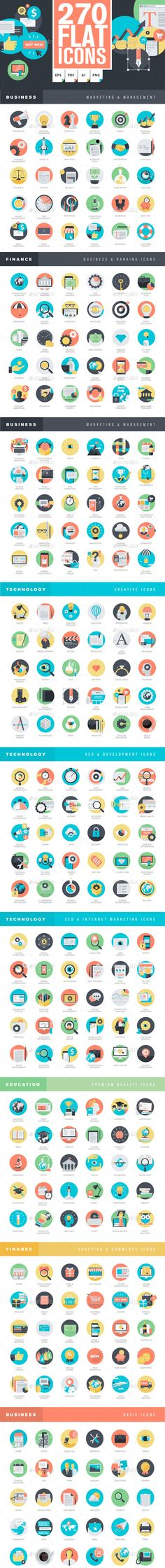Set of 270 flat design icons for marketing, business, finance, e-commerce, web design & development, app development, SEO, online shopping, digital marketing, management, education. Download: http://graphicriver.net/item/set-of-flat-design-icons/11203539?ref=ksioks