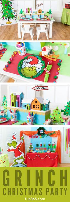Welcome all the Whos from Whoville to your own Grinch Themed Christmas Party this year! We love this party theme and even decided to combine it with our annual Ugly Sweater Party! See all of the fun DIY projects that go with this Christmas party now! Grinch Party, Grinch Christmas Party, Very Merry Christmas Party, Christmas Night, Kids Christmas, Christmas Kitchen, Christmas Party Decorations Diy, Christmas Themes, Holiday Decor