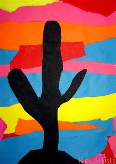 Kids Artists: Desert sunset-You need: colored paper, black construction paper, scissors,glue. By tearing stripes of different colors of paper, children create a sunset. Draw a big cactus on black paper and cut it out. Paste the cactus on the sunset sheet. Desert Art, Desert Sunset, Sunset Art, Sunset Paintings, Desert Oasis, Kindergarten Art, Preschool Art, Artists For Kids, Art For Kids