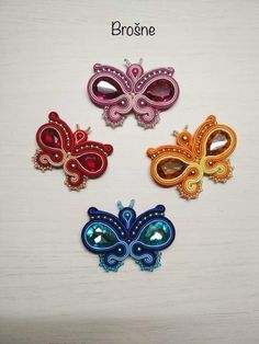 Soutache Jewelry, Shibori, Macrame, Butterfly, Brooch, Jewellery, Embroidery, Crochet, Outfits