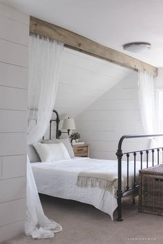 Wood Beam and Lace Canopy Curtains | DIYIdeaCenter.com