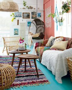 High/low: Colourful boho-chic cottage sitting room   Style at Home