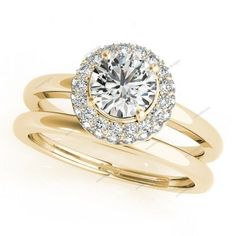 1.4/5 CT.T.W Engagement Ring Set Diamond Halo Wedding in 14k Yellow Gold Plated  #aonedesigns