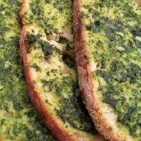 Basil Butter Bread: #Bread smeared with a flavorful #basil butter, topped with grated cheese and baked golden. A quick and easy snack for your brunch party!