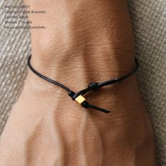 B401GDL Simple 01 Gold Leather Bracelet  Handmade by cololinks, $12.00