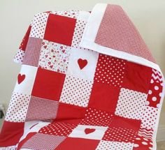 Baby Girl Patchwork Quilt Red Nursery Bedding by LittleCottonShop, €60.00
