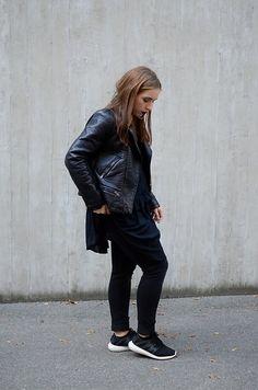 Liva Bambale - Zara Faux Leather Jacket, H&M Black Dress, H&M Skinny Jeans, Adidas Sneakers - Take it easy