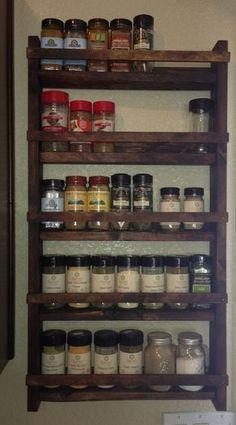 "15"" tall, 28"" wide ,3"" deep (2.5 depth shelf) Probably can fit 4 C&B oval jars per shelf Rustic Wood Spice Rack"