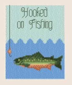 Hooked on Fishing cross stitch pattern.