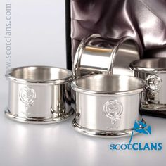 Rattray Clan Crest Pewter Napkin Rings. Free worldwide shipping available.