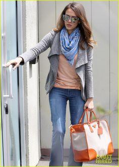 Gray sweater, scarf, jeans, Jessica Alba