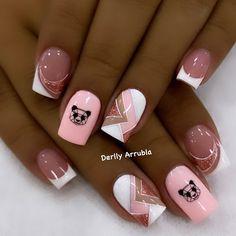Acrylic Nail Shapes, Cute Acrylic Nail Designs, Best Nail Art Designs, Short Nail Designs, Cute Acrylic Nails, Matte Nails, Hello Nails, Mickey Nails, Geometric Nail