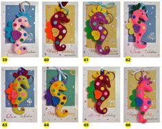 Seahorse Felt Key ring/Charm/Christmas Ornaments on a Greeting card - Handmade