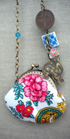 Portugal Viana Folklore Scarf  Purse and AntiqueTile by Atrio,