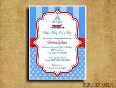 Nautical Sailboat Polka Dot Baby Shower by InkyDinkyDoodles, $13.00