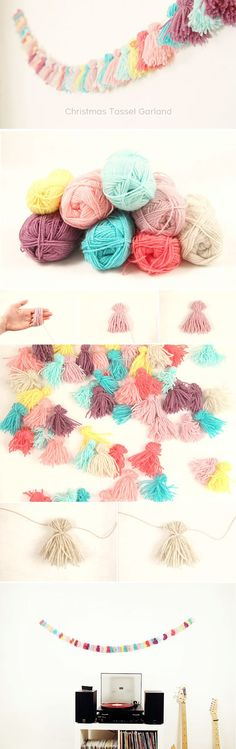 Yarn garland   http://www.hercampus.com/school/bryant/perfect-spring-decorations-your-dorm-room