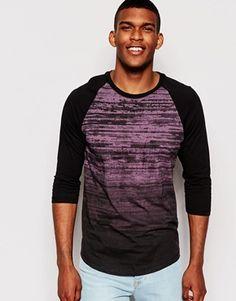 ASOS 3/4 Sleeve T-Shirt With Dip Dye Print