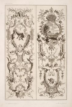 Image Title: Two vertical designs featuring scene of cherubs by a lake. Creator: Pfnor, Rodolphe, 1824-1909 -- Engraver Additional Name: Cuvilliés, François, 1695-1768 -- Artist .Source: Nouveaux livre d'ornments, pour l'utillitée des sculpteurs, et orfeures ...