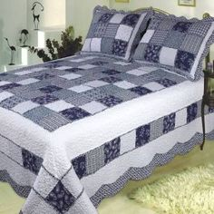 Delft Blue handmade quilt with refreshing appeal super king size 118 x 102 Brand Elegant Decor Half Square Triangle Quilts Pattern, Square Quilt, Grey Quilt, Blue Quilts, Black And White Quilts, Blue And White, Blue Yellow, Dark Blue, Home Decor Items