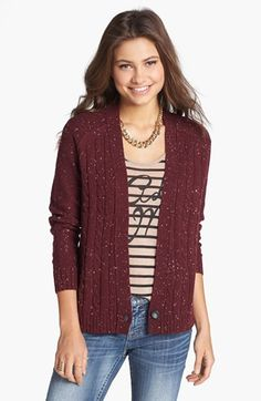 Rubbish® Flecked Cardigan (Juniors) 48.00 at #Nordstrom; oatmeal