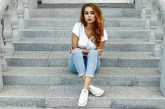 Picture of Young beautiful girl in a white T-shirt, jeans and shoes on the steps stock photo, images and stock photography. 50 Fashion, Fashion Tips, Young And Beautiful, Photo Editing, Stock Photos, Lifestyle, T Shirt, Photography Poses, Fashion Hacks