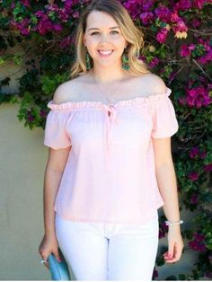 RoseGal.com - RoseGal Off The Shoulder Puff Sleeve Bowknot Blouse - AdoreWe.com