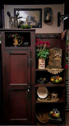 This looks like it was an old gentleman chest with the doors and doors removed, wonderful idea