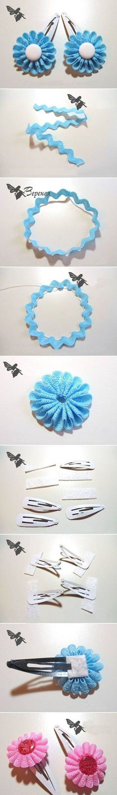 Ideas for hair accessories felt fabric flowers Ribbon Crafts, Ribbon Bows, Fabric Crafts, Sewing Crafts, Ribbons, Ribbon Flower, Diy Ribbon, Sewing Diy, Felt Flowers