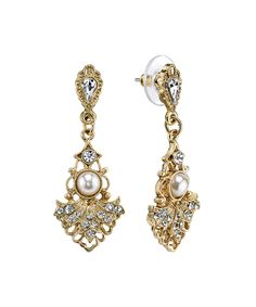 Look what I found on #zulily! Goldtone, Crystal & Faux Pearl Belle Époque Fan Drop Earrings by Downton Abbey #zulilyfinds