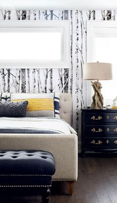 Sun-drenched master bedroom {PHOTO: Lisa Petrole}- Since we don't have windows above the bed a mirror could be used to add more light to the bedroom.