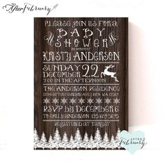 Winter Baby Shower Invitation - Vintage Wood - Rustic Winter Holiday Christmas Snowflake Reindeer  Printable No.468