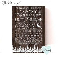 Winter Baby Shower Invitation - Vintage Wood - Rustic Winter Holiday Christmas Snowflake Reindeer  Printable No.468